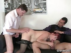 Business daughter takes three cocks